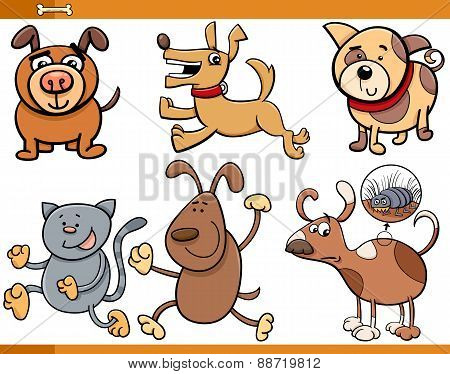 Dogs Characters Cartoon Set