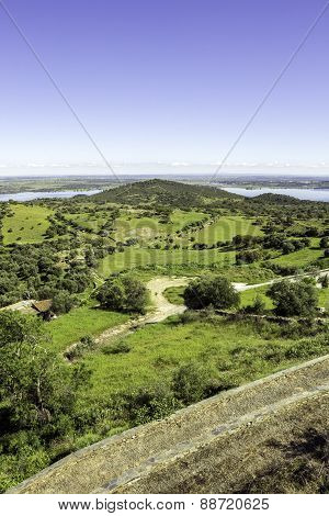 View From Town Of Monsaraz, On The Right Margin Of The Guadiana River In Alentejo Region, Near Alque