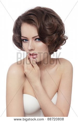 Young beautiful sexy woman with thoughtful expression over white background