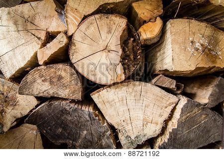 Pile of wood close-up