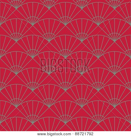 Plain fan pattern. Based on Traditional Japanese Embroidery. Bright Seamless.