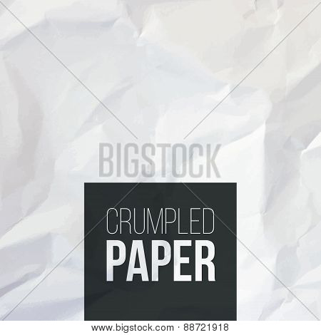 Texture of white crumpled paper background