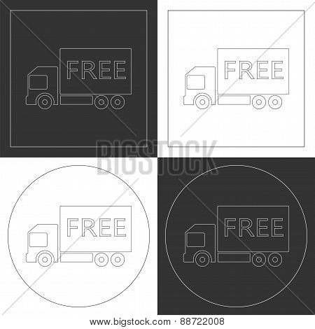 Free Shipping Truck Line Icons.