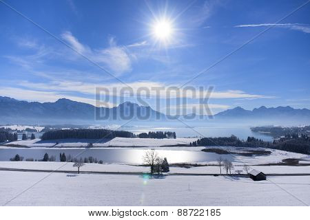panorama landscape in Bavaria nearby alps mountains
