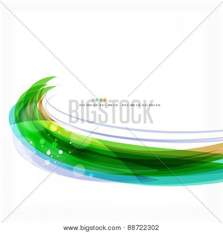 Green light lines on white presentation template. Background abstract