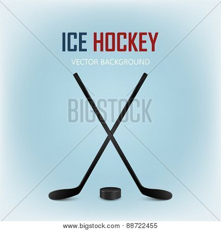 Two Crossed Hockey Sticks And Puck. Vector Background.