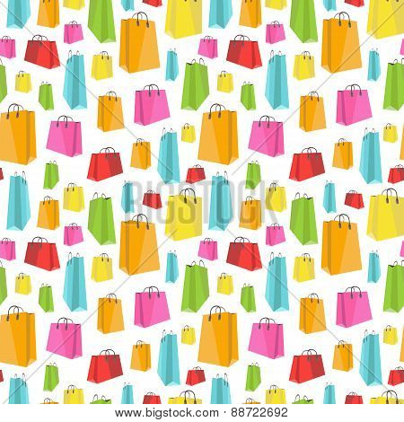 Flat colorful shopping bags on white seamless pattern