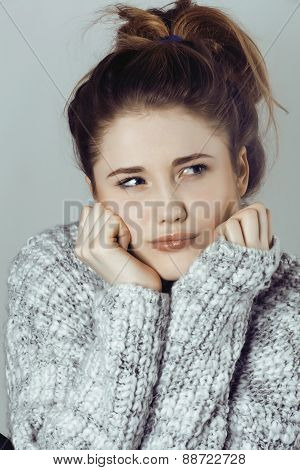 beauty young real woman in sweater at winter warmed up, cheerful
