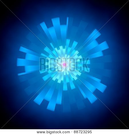 Blue Abstract Glowing Shape In Cyberspace
