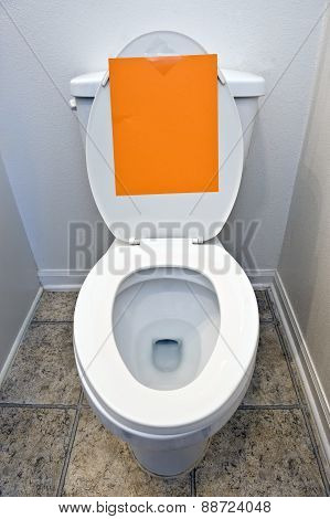Toilet Bowl With Blank Sign