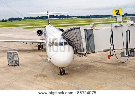 Airliner Loading Or Unloading Passengers