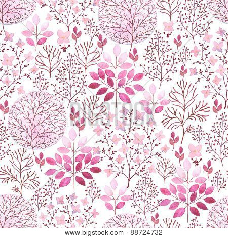 Seamless watercolor abstraction floral pattern in vintage style on white background.