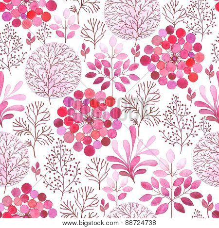 Seamless pink watercolor abstraction floral pattern in vintage style on white background.