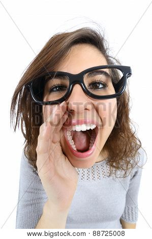 Funny Girl Shouting And Calling With Her Hand At Her Mouth