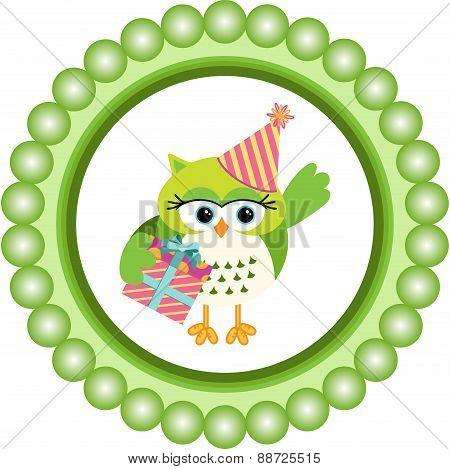 Birthday owl round label
