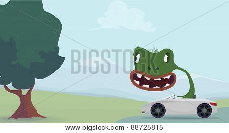 Green lizard cartoon