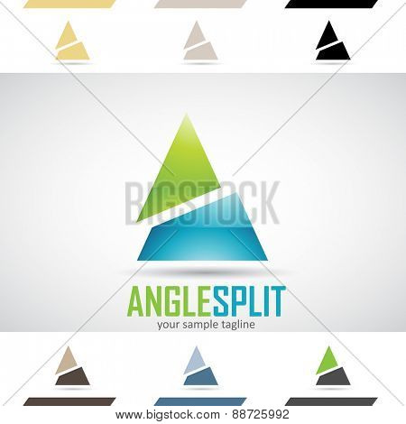 Design Concept of Green and Blue Glossy Stock Icons and Shapes of Letter A, Vector Illustration