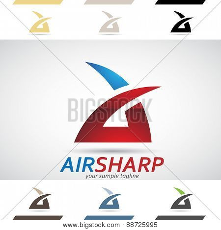 Design Concept of Red and Blue Stock Icons and Shapes of Letter A, Vector Illustration