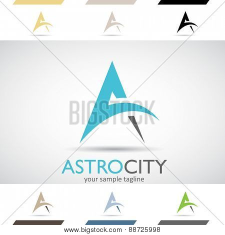 Design Concept of Black, Blue and Green Stock Icons and Shapes of Letter A, Vector Illustration