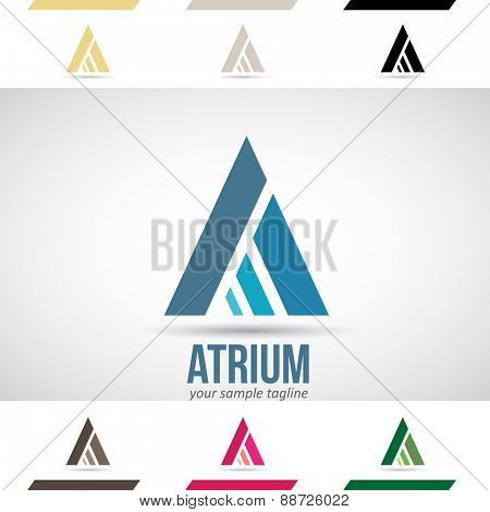 Design Concept of Blue, Green and Magenta Stock Icons and Shapes of Letter A, Vector Illustration