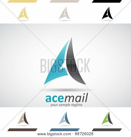 Design Concept of Black and Blue Stock Icons and Shapes of Letter A, Vector Illustration