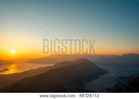 Balkan mountains on the sunset
