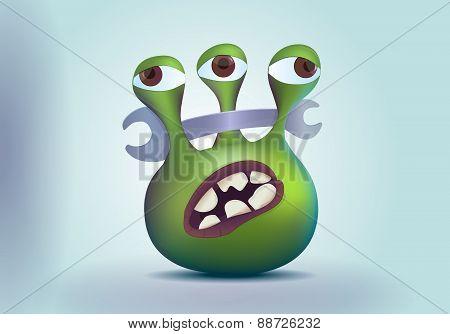 Three eyes alien monster