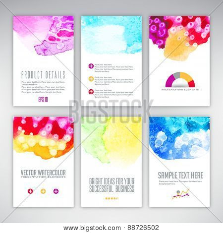 Set of templates with watercolor splash