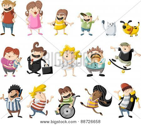Colorful cute happy cartoon people