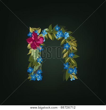 N letter. Flower  alphabet. Colorful font. Lowercase.  Vector illustration.