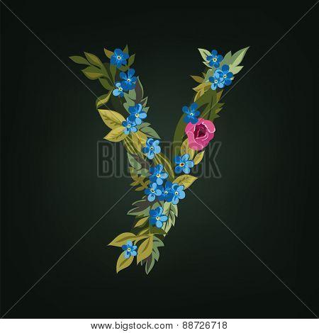 Y letter. Flower  alphabet. Colorful font. Lowercase.  Vector illustration.