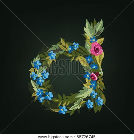 D letter. Flower  alphabet. Colorful font. Lowercase.  Vector illustration.