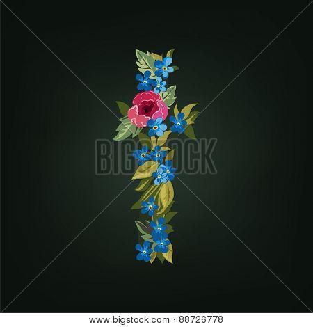 T letter. Flower  alphabet. Colorful font. Lowercase.  Vector illustration.