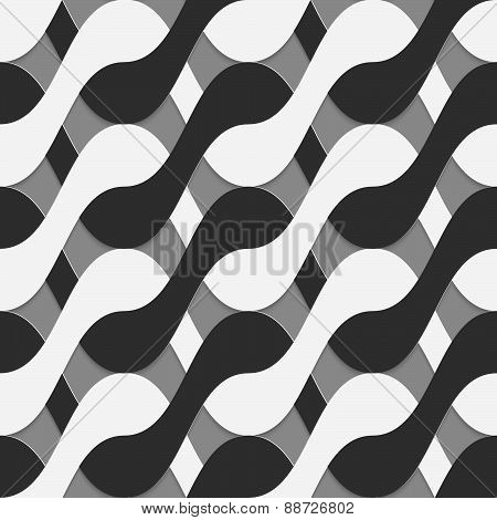 3D Black And White Interlocking Waves