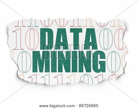 Information concept: Data Mining on Torn Paper background