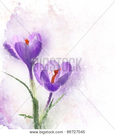 Digital Painting Of Crocus Flowers