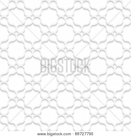 3D White Rounded Shapes Forming Grid On White