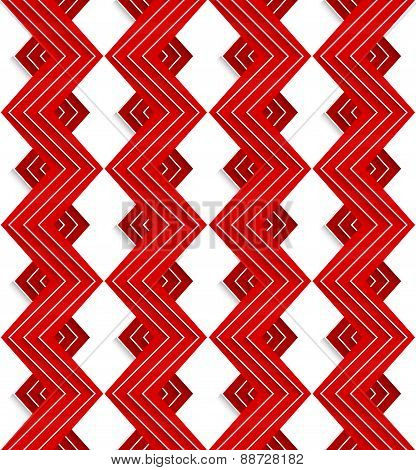 Red Embossed Zigzag With White Lines