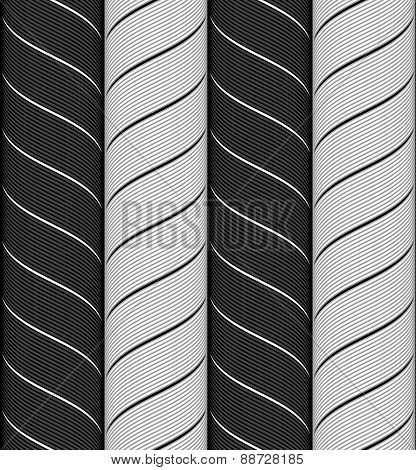 Ribbons Black And Gray Chevron Pattern