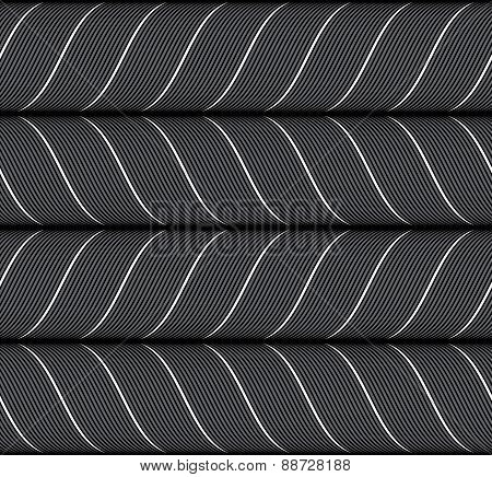 Ribbons Black Horizontal Chevron Pattern