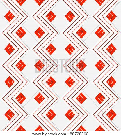 White Embossed Zigzag With Red Lines