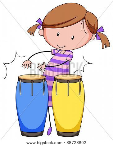 Close up girl playing drums