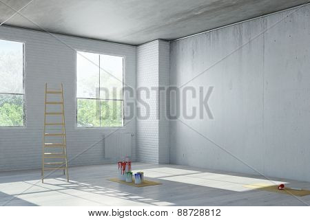 Renovation of an old loft with ladder and paint cans (3D Rendering)
