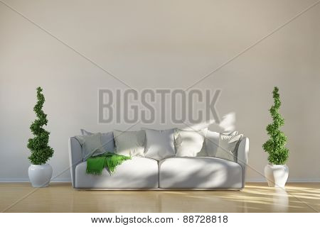 Sofa in living room with green boxwoods in front of a wall (3D Rendering)