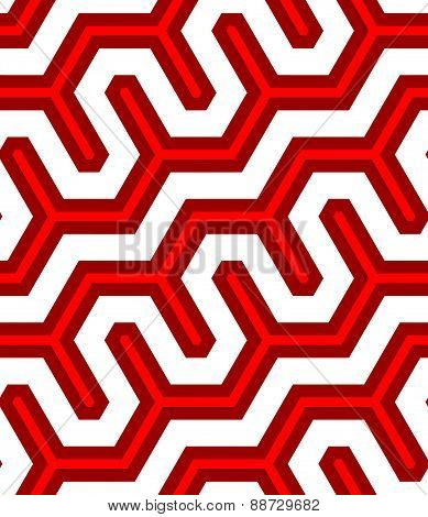3D Colored Deep Red Diagonal Fence