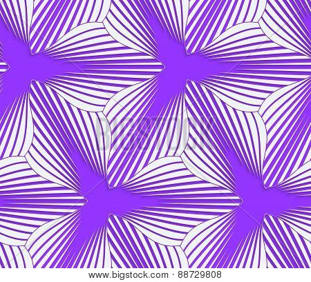 3D Colored Purple Geometrical Striped Flower