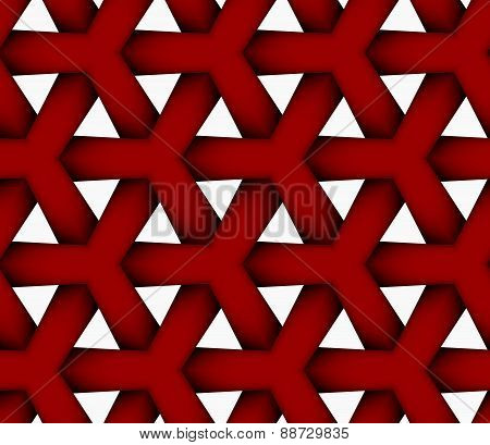 3D Colored Red Triangular Grid