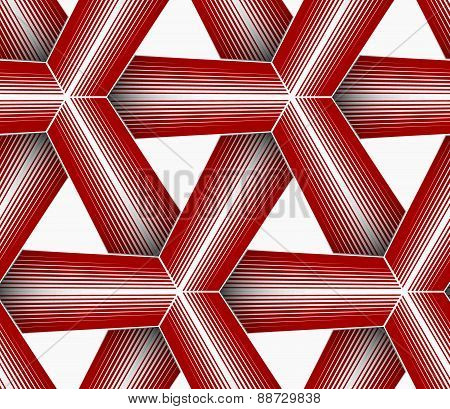 3D Colored Red Triangular Striped Grid