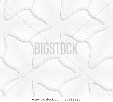 3D White Abstract Three Pedal Flower With Gray Stripes