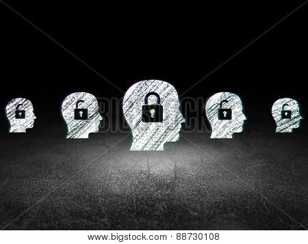 Protection concept: head with padlock icon in grunge dark room